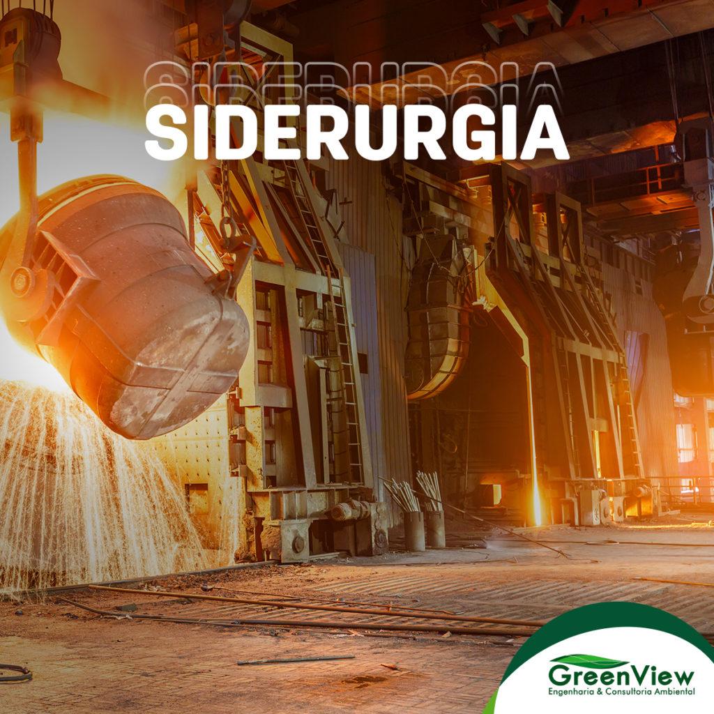 Siderurgia, imagem de um forno de siderúrgica e acima o texto em branco siderurgia.