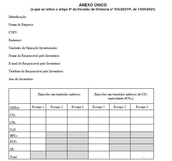 Anexo Único - Decisão de Diretoria Nº 035/2021/P de 13/04/2021.