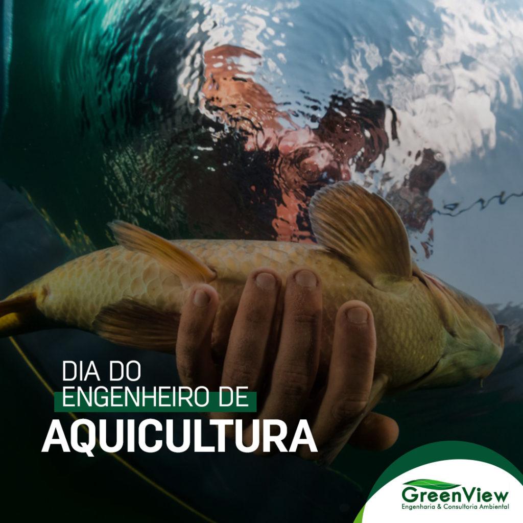 17 de Julho - Dia do Engenheiro de Aquicultura. Foto abaixo d´água mostrando um peixe e uma mão segurando o peixe com cuidado. Acima o texto Dia do Engenheiro de Aquicultura.